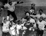 The Pirates celebrate winning the 1979 World Series over the Orioles.